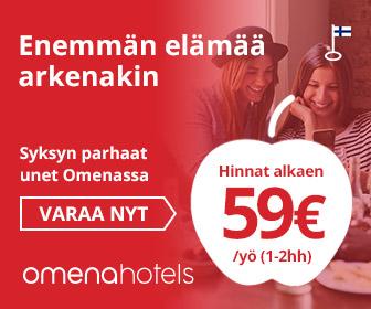 Omena-hotellin elokuun tarjous alkaen 59 €/yö